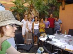 En avancerad grupp med Christine som lärare