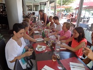Enjoying a lunch with our French teachers