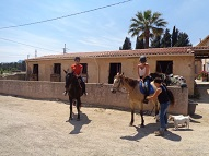 Preparing a horsebackriding tour in the countryside with instructor