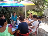 An advanced adult group in the garden with their teacher Chris in charge