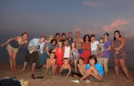An evening picnic on the central beach of Saint Raphael with some staff members: Paul - Meganne